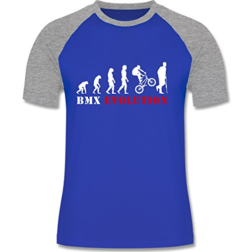 Evolution - BMX Evolution - zweifarbiges Baseballshirt für Männer Royalblau/Grau meliert