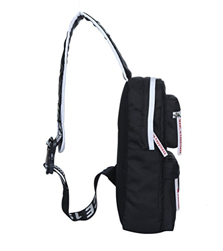 Super Moderne Schulter-Rucksack Sling Umhängetasche Cover Pack Rucksack für Fahrrad Sport Wandern Reisen Camping Segeltuch Gym Rucksack, Outdoor Wandern Tasche Schwarz