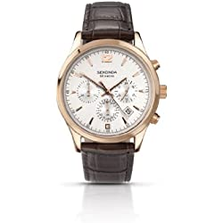 Sekonda Men's Chronograph Watch with Silver Dial and Brown Leather Strap 3488.27