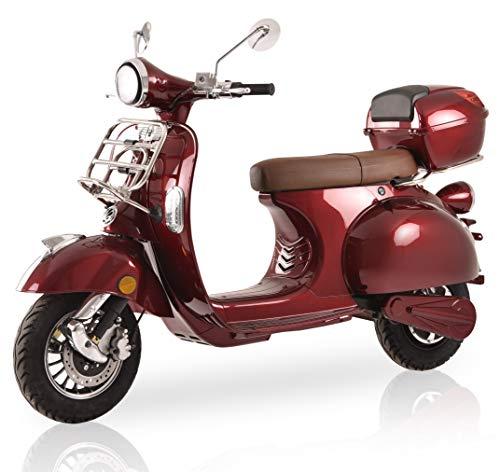 """Elektroroller""""Classico Li"""" Elektroroller 45 km/h 2 Lithium Akkus E Roller E Scooter mit Straßenzulassung Elektro Roller Scooter kaufen, Bordeaux Rot"""