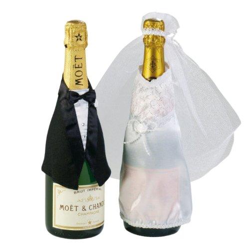 Edle FLASCHENDEKO für Sektflaschen Brautpaar HOCHZEIT 2tlg. Tischdeko