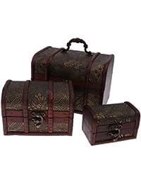 3pcs Caja de Vendimia Cofre Del Tesoro De Almacenaje De La Joyería De Madera Organizador