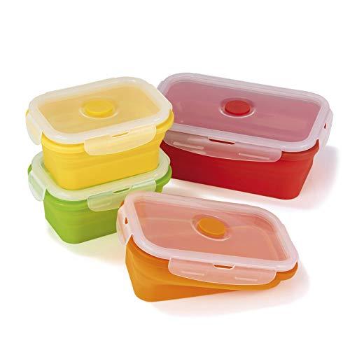 GOURMETmaxx 02829 Frischhaltedosen klick-it platzsparend Faltbar 8 tlg. BPA Frei Zum Aufbewahren, Einfrieren und Erwärmen mit Mikrowellenventil (8 Teilig (4 Dosen & 4 Deckel))