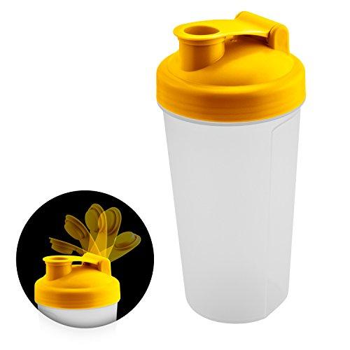 Frei Von Milchprodukten (Fitness Protein Shaker für eine gesunde Ernährung nach dem Workout | Klappverschluss + Auslaufsicher | Made in Germany | 600 ml mit Skala | BPA frei | Farbe: Gelb + GRATIS Beileger mit 5 leckeren Rezepten)