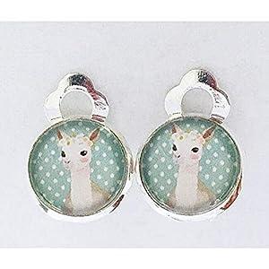 Lama Kinder Ohrclips Ohrringe handgefertigt by Schmuckphantasien in silber mit Glas-Cabochon und 10mm Motiv Punkte türkis weiß handmade clips for kids