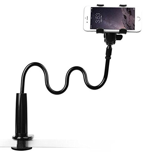 Enllonish Support de Tablette et Smartphone Pliable, Support réglable en col-de-cygne stand avec bras extensible pour téléphone (Holder For Phone|Black)