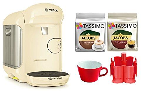 Bosch TASSIMO Vivy 2 Bundle + Spender + Kahla Tasse + 2x TDiscs Kapseln (Creme)