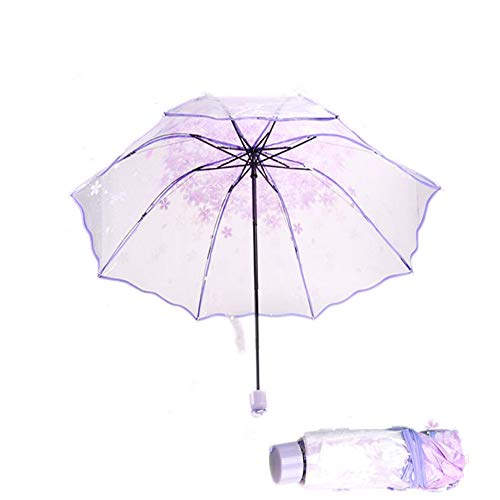 Transparent Regenschirm mit Hülle Groß Taschenschirm Blumen Kreativer Reiseschirm für Auto Tragbarer Schirm für Kinder Damen Frauen Studenten Leicht Durchsichtig Windfest Durchmesser 96cm