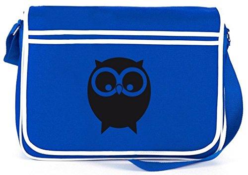 Shirtstreet24, EULE, Owl Natur Retro Messenger Bag Kuriertasche Umhängetasche Royal Blau