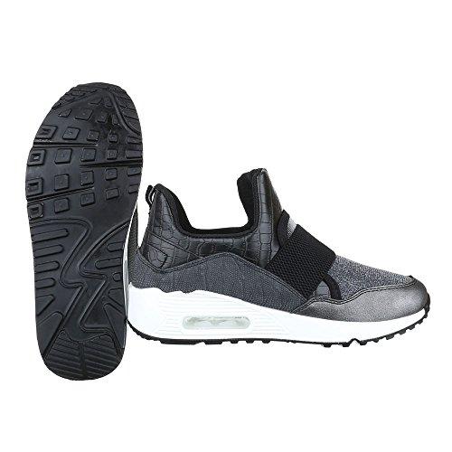 High-Top Sneaker Damenschuhe High-Top Keilabsatz/ Wedge Sneakers Ital-Design Freizeitschuhe Grau Silber