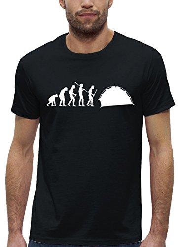 Campen Premium Herren T-Shirt aus Bio Baumwolle EVOLUTION ZELTEN Marke Stanley Stella Black