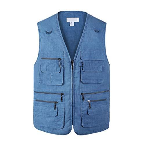 Dünn Atmungsaktivität Baumwolle Weste,Outdoor Multi Pockets Vest Angeln Fotografie Gilet