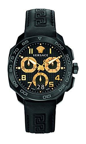 Versace Herren Chronograph Quarz Uhr mit Leder Armband VQC020015