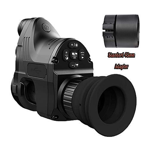 Hengyuanyi NV007 Digitales Jagd-Nachtsicht-Zielfernrohr mit WiFi, optisch, 5 W, IR-Infrarot-Nachtsicht, mit App, 42 mm & 45 mm & 48 mm Adapter, Schwarz, NV007+45mm Super Ir-wetterfeste Kamera