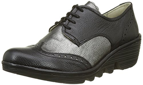 FLY London Damen Palt Brogue Schnürhalbschuhe Schwarz (Black/anthracite Silver)