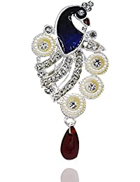 e99f84a826e Aashya Mayro Peacock Design Saree Pin / Brooch Silver Plated Meena Work  with Diamond Stone and