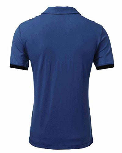 StyleDome Herrn Poloshirt Kurzarm T-Shirt Hemd Polo Shirt Hemdshirt Regular Slim Fit Blau