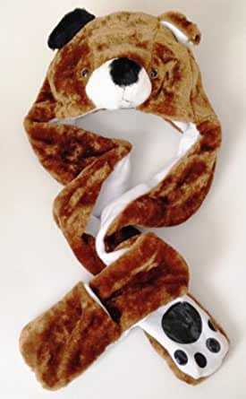 Dog Long Animal Faux Fur Head Trapper Hat Hood / Scarf / Snood / Gloves all in one Ladies / Men / Kids / Children