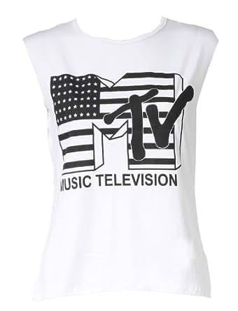 Womens MTV Music Television Ladies Vest Tank Top / Size (8-14)-£5.99 (ML - UK(12-14), White)