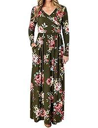 Babysbreath17 Muchacha de Las Mujeres con Cuello en V de impresión Floral del Vestido Maxi Bolsillo