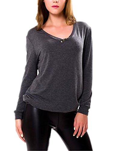Gogofuture Donna T Shirt Semplice Scollo A V Maglie A Manica Lunga Colore Puro Camicia Allentato Blusa Taglie Forti Blouses Comodo Tops Black