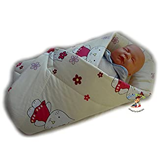 BlueberryShop manta de algodón para bebés con almohada | Saco de dormir para bebés recién nacidos | Regalo perfecto para Baby Shower | 78 x 78 cm | Azul Crema