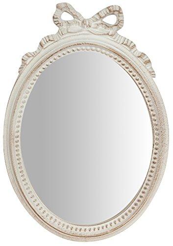 Specchio specchiera da parete in legno finitura bianco anticato made in italy l22xpr2,5xh32 cm