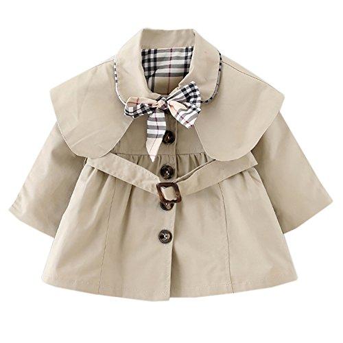 dchen] Schleife Gürtel Mantel mit Umhang Jacke Baumwolle Frühling Herbst Windbreaker Mode Oberbekleidung Outerwear Khaki L (Frühling Mädchen Jacken)