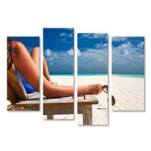 bilderfelix® Bild auf Leinwand Frau am schönen Strand mit Sonnenbrille Wandbild, Poster, Leinwandbild FZW