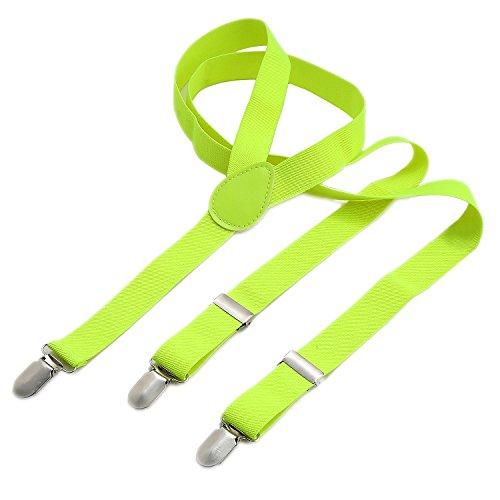 DonDon® Herren Hosenträger 2,5 cm – 3 Klips in Y-Form – elastisch und längenverstellbar – Neon-Gelb