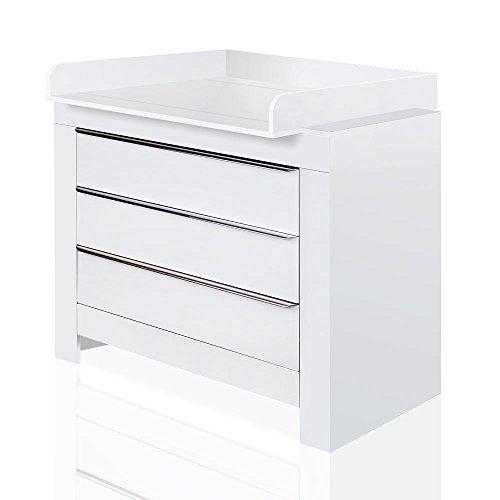 Wickelkommode Wickeltisch Felix in Weiß oder Akaziengrau/Sandton mit abnehmbarem Aufsatz (Weiß) -