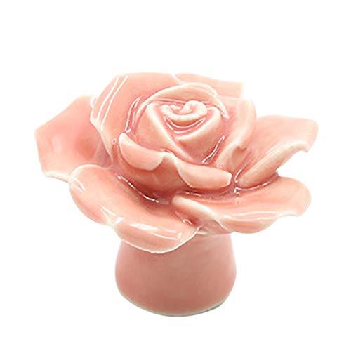 Bontand Keramik Blumen Rose Schubladenknöpfe Ländliche Kabinett Schrank Griffe Mode Möbel Griffe Hardware (Rose Möbelknöpfe)