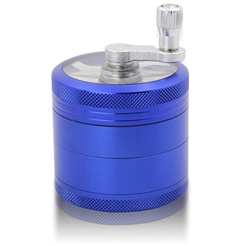 DCOU Handkurbel Premium Mühle unzerbrechlich CNC Aluminium Metall Kräuter Tabak Mahler Schleifer, 4 Teile, Ø55mm (Blau) (Rosa Ausgestattet Tee)