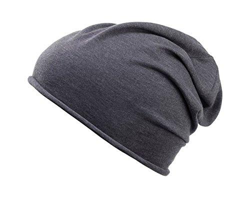 Baumwoll Long Beanie (2Store24 Damen und Herren Jersey Long Beanie in schwarz heather aus Bio Baumwolle)