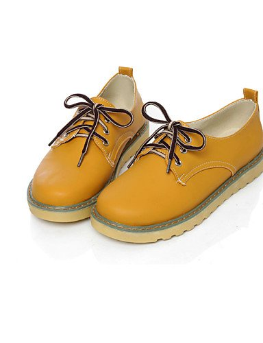 ZQ hug Scarpe Donna - Stringate - Casual - Punta arrotondata - Piatto - Finta pelle - Blu / Giallo / Rosa / Tessuto almond , almond-us6.5-7 / eu37 / uk4.5-5 / cn37 , almond-us6.5-7 / eu37 / uk4.5-5 /  blue-us5 / eu35 / uk3 / cn34