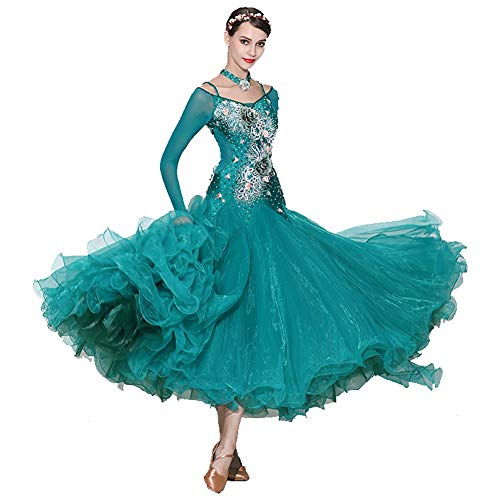 Tanzkostüm, Einsätze, Großer Tanz, Dreidimensionales Kostüm, Strass Reihe, Modern Dance Rock Kleid (Color : Malachite Green, Size : (Schule Soziale Kostüm)