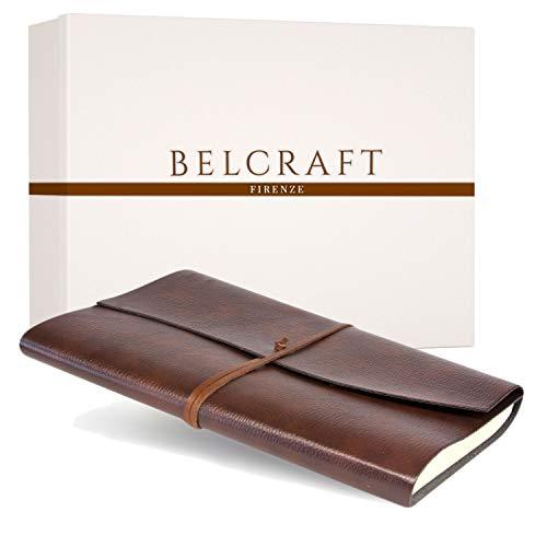 Tivoli A4 großes Notizbuch aus recyceltem Leder, Handgearbeitet in klassischem Italienischem Stil, Geschenkschachtel inklusive, Gästebuch, Tagebuch A4 (21x30 cm) Braun