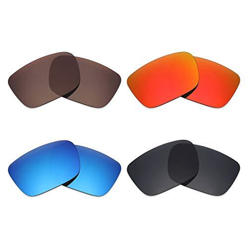 Mryok 4Paar Polarisierte Ersatzgläser für Spy Optic Helm Sonnenbrille-Stealth Schwarz/Fire Rot/Ice Blau/Bronze Braun