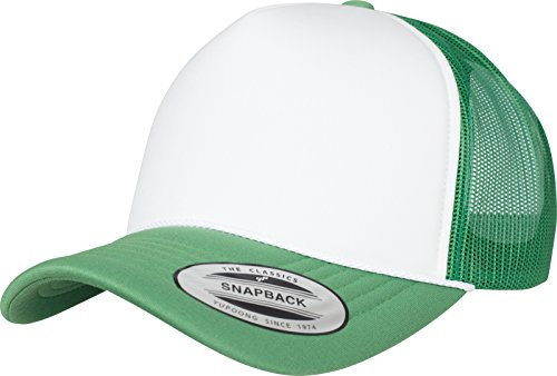 Flex Fit Trucker Cap (Flexfit Foam Trucker Curved Visor Cap, Grn/Wht, one Size)