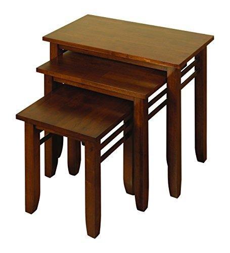 The One Hawaii foncé Lot de 3 Tables gigognes en Bois Dur Massif – Lot de 3 Tables gigognes – Finition : Noir – Meuble de Salon