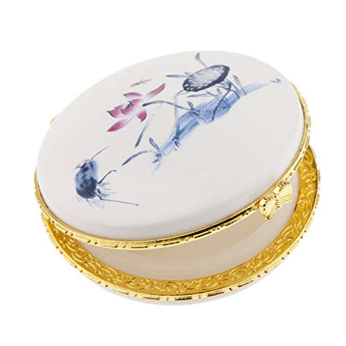D DOLITY Wunderschöne Keramik Puderdose Puff Box Salbe Dose Make-up Behälter - Blauer Lotus -