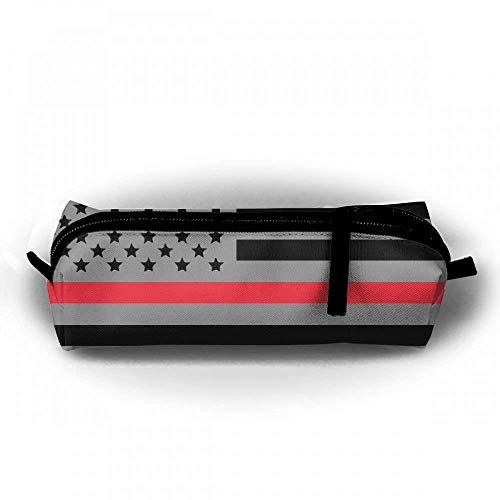 American Flag Thin Red Line Pencil Case Canvas Stationery Zipper Pouch Bag - American Zebra Line