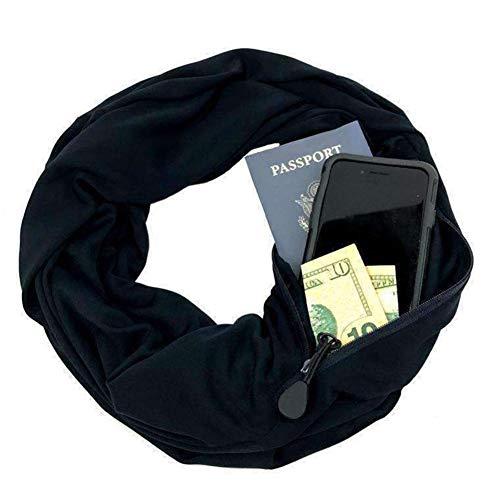 WDGT Unisex-Infinity-Schal mit Geheimtasche mit Reißverschluss, die Aufbewahrung von Telefonkarten für Geld-Lippenstift-Pass, weichen und bequemen Schal zum Einkaufen, Reisen, Geschäftsreise,Black
