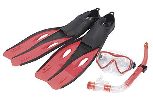 Profi Schnorchelset mit Taucherbrille bzw. Tauchmaske, Schwimmflossen bzw. Flossen und Schnorchel für Kinder (Farbe Orange, Größe S / 35-37)
