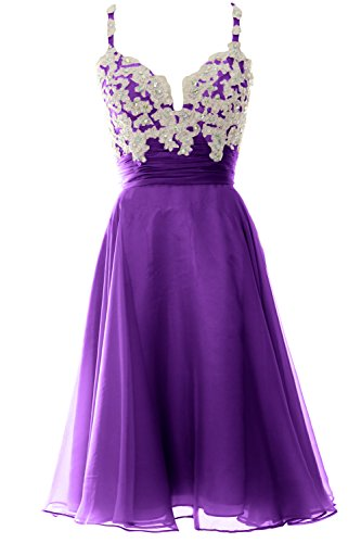 MACloth Women Strap Short Lace Chiffon Cocktail Dress Short Prom Formal Gown Violett