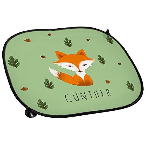Preisvergleich Produktbild Auto-Sonnenschutz mit Namen Günther und schönem Motiv mit Aquarell-Fuchs für Jungen   Auto-Blendschutz   Sonnenblende   Sichtschutz