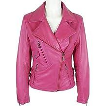 7661dcb3449d UNICORN Femmes Mode Biker le Style - Réel cuir veste - Cirée Rose ...