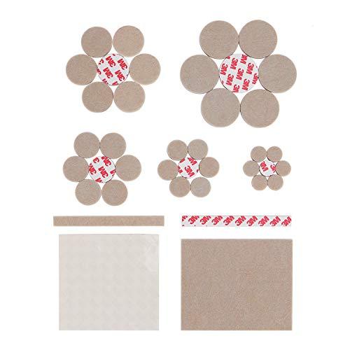 RONRI Möbelpolster 210 Stück Ultra Large Filzpads Premium Selbstklebende Möbelfüße Set Alle Größen - Beste für Holzboden Protektoren und Teppich mit Transparent Noise Reduction Stoßfänger Beige -