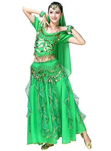 Sentaoa Damen Belly Dance Tanz Kostüm Split Bauchtanz Set 5-teiliges Set BH Tops/Rock/Kopf Schleier/Armband/Hüfttuch (Grün, One Size)