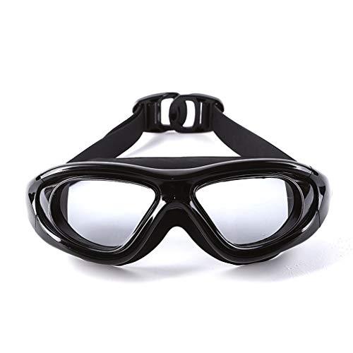 ZTMN Schwimmbrille große Brille weibliche Erwachsene Damen hd transparent wasserdicht Anti-Fog Schwimmbrille männer (Farbe: transparent schwarz)